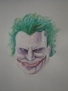 le joker (cf batman) Pour la petie anecdote je l'ai fait sans aucun repere au crayon mais directement à l'aquarelle.