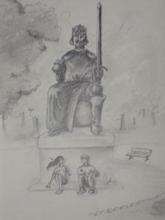 la statue_fusain